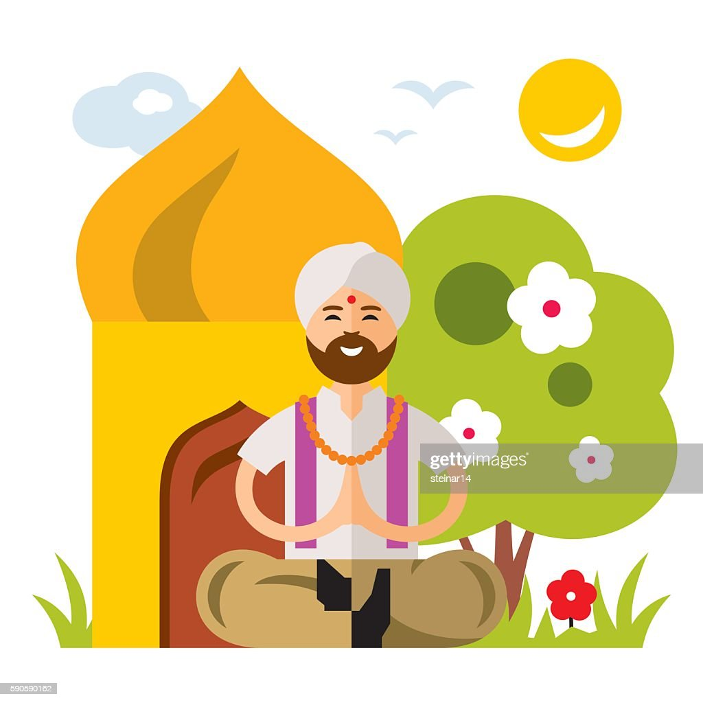 Vector India Yoga. Flat style colorful Cartoon illustration.