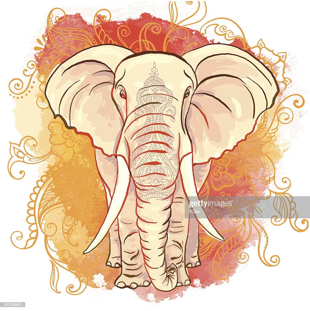 Vector Indian Elephant on the Watercolor Blot