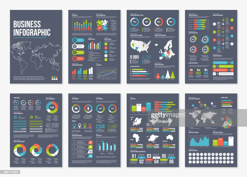 Vector infographic A4 brochure elements.
