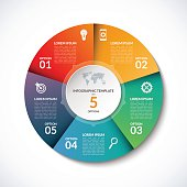 Vector infographic circle template with 5 steps, parts, options