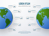 Vector infographic mockup with globe and diagrams