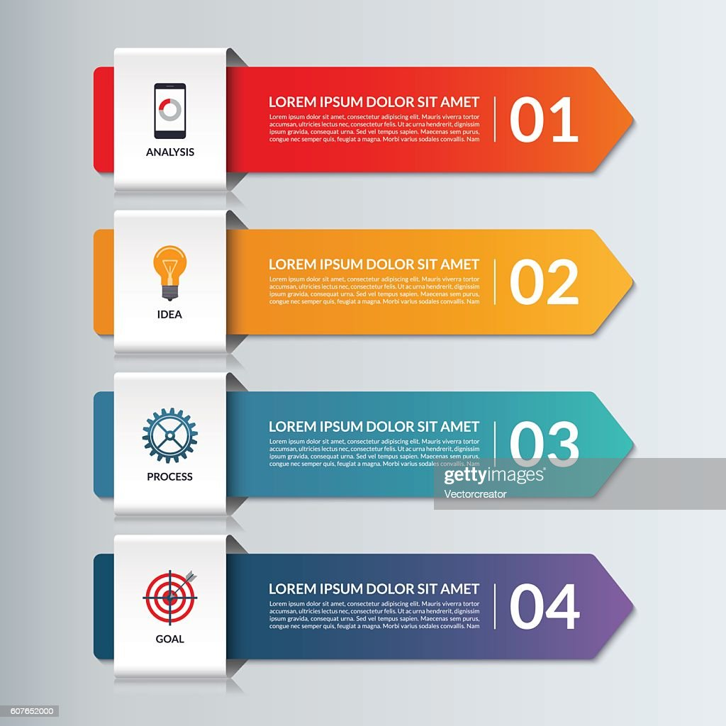 Vector infographic options banner with 4 arrows, steps, parts