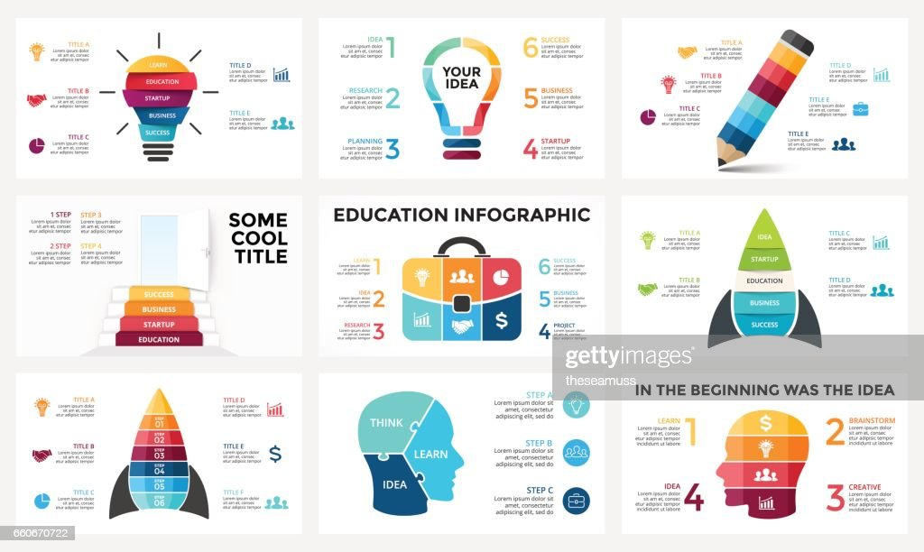 Vector infographic set, light bulb idea, education diagram, knowledge chart, startup rocket, travel bag, human head brain, learn study graph presentation, stairs open door. 3, 4, 5, 6 options, parts, steps, processes