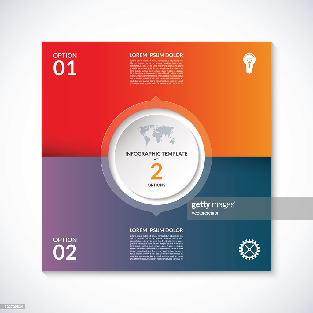 Vector infographic square template. Banner with 2 steps, options, parts