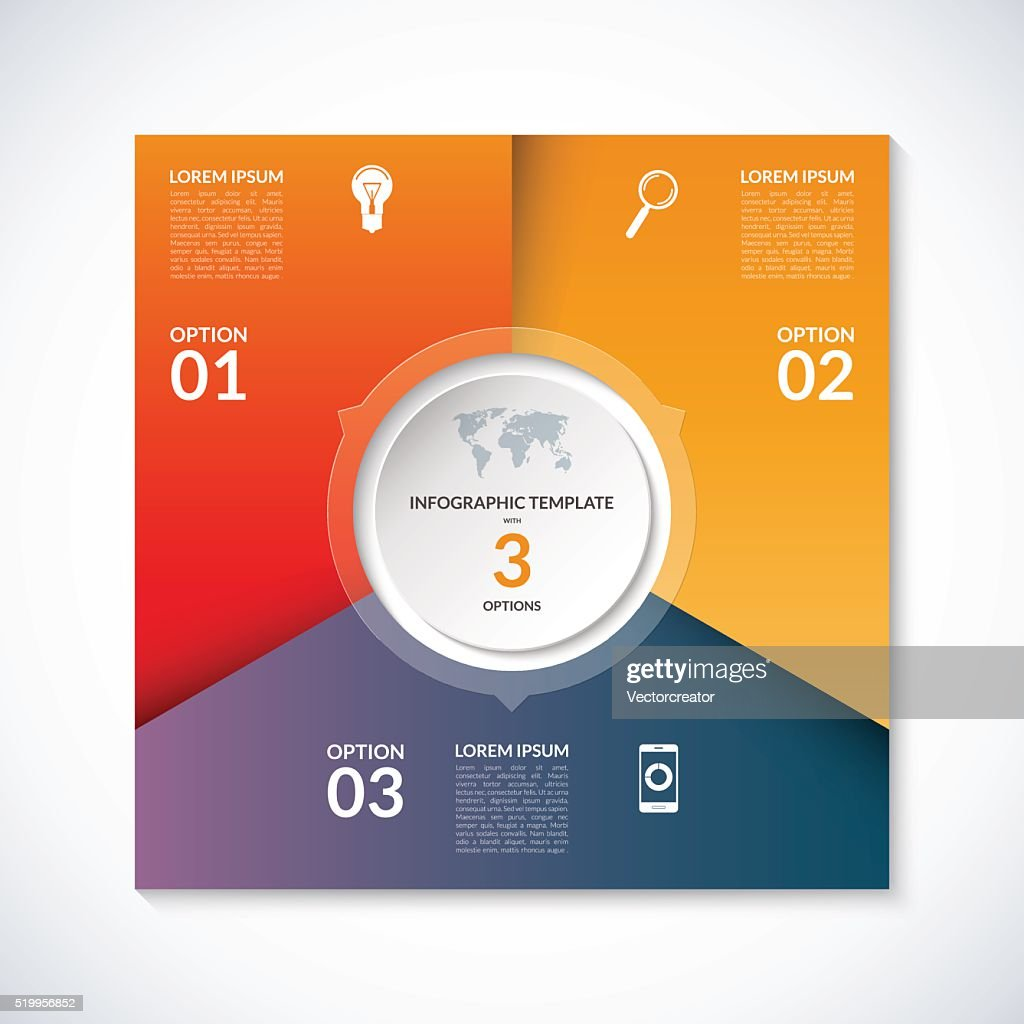 Vector infographic square template with 3 options