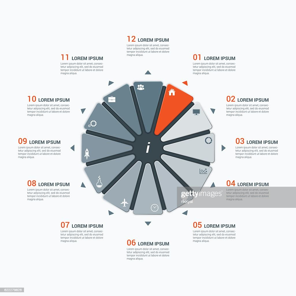Vector infographic template with dodecagon 12 options