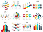 Vector infographics, diagram, chart, graph and presentation. Business report with 3, 4, 5, 6 and 7 options, parts, steps processes. Arrows, circles, target, columns, map and timeline.