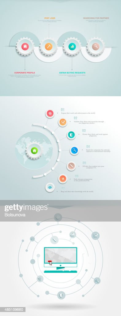 Vector infographics element with a circles and business icons