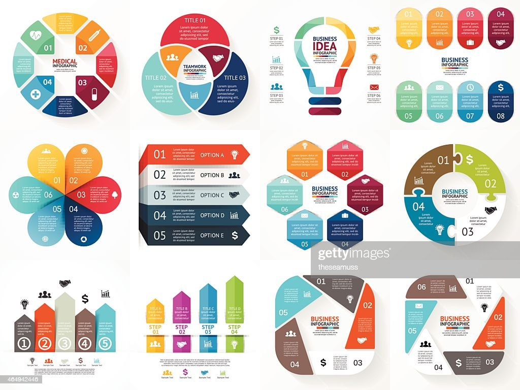Vector infographics set. Collection of templates for cycle diagram, graph