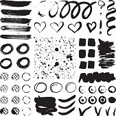 Vector ink and paint textures set.