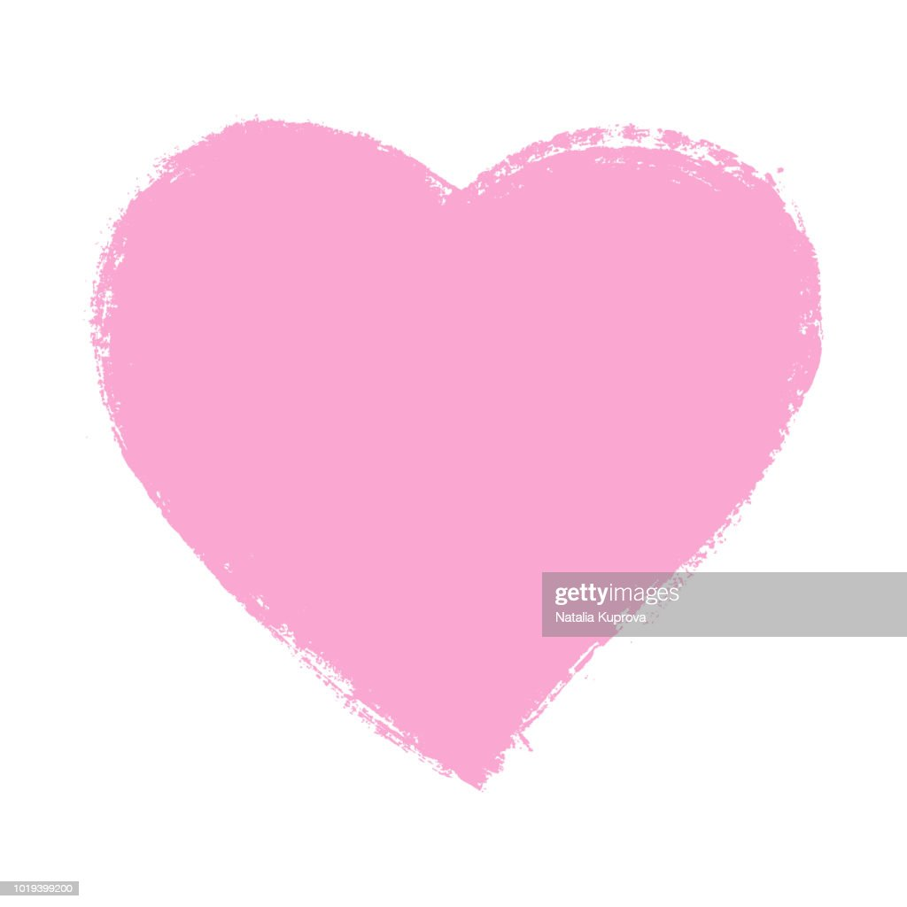 Vector ink pink heart shape, symbol on Happy Valentines Day. Grunge style
