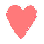 Vector ink pink heart , shape, symbol on Happy Valentines Day. Silhouette in grunge style