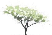 vector ink splash effect tree