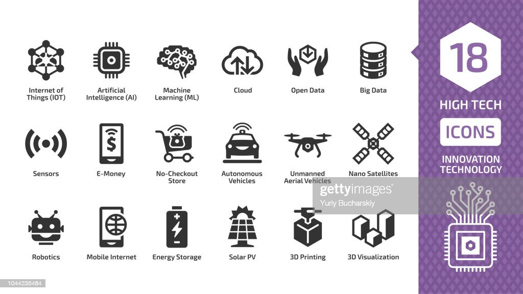 Vector innovation technology icon set with high tech digital wireless smart future business concept silhouette sign. Internet of things, artificial intelligence, nachine learning and more symbols.