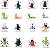 Vector insects flat icon set