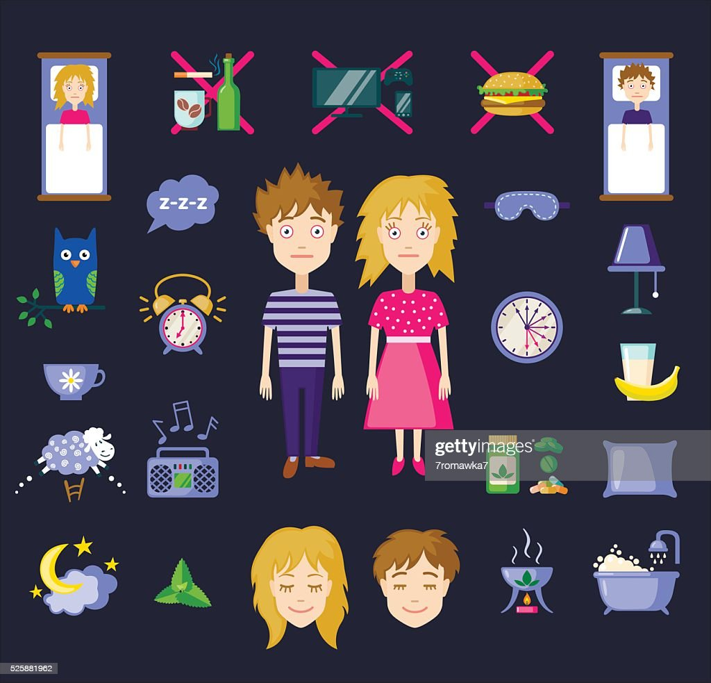 Vector insomnia icons in flat style