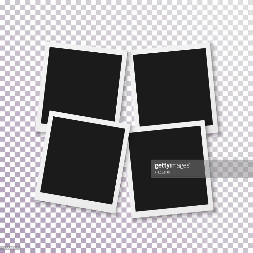Vector Instant Photo Frame. Realistic Photo Frame Fast Photograph Template. Retro Square Instant Photo. Polaroid Frame