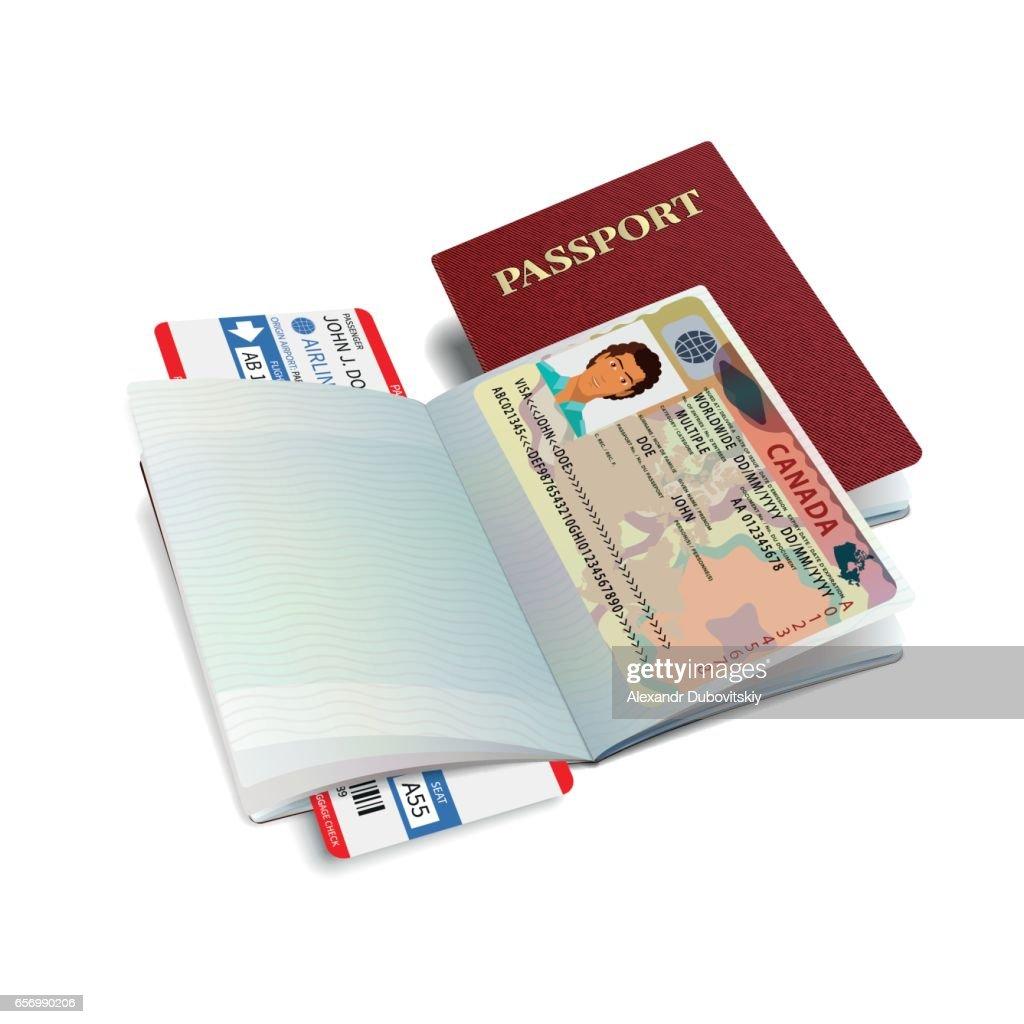 Vector international passport with Canada visa