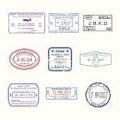 Vector international travel visa stamps for passport set