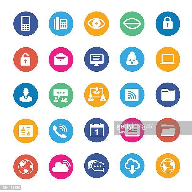 vector internet icon set - desk organizer stock illustrations, clip art, cartoons, & icons