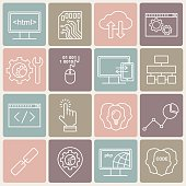 Vector Internet technology and programming vector linear icons set.