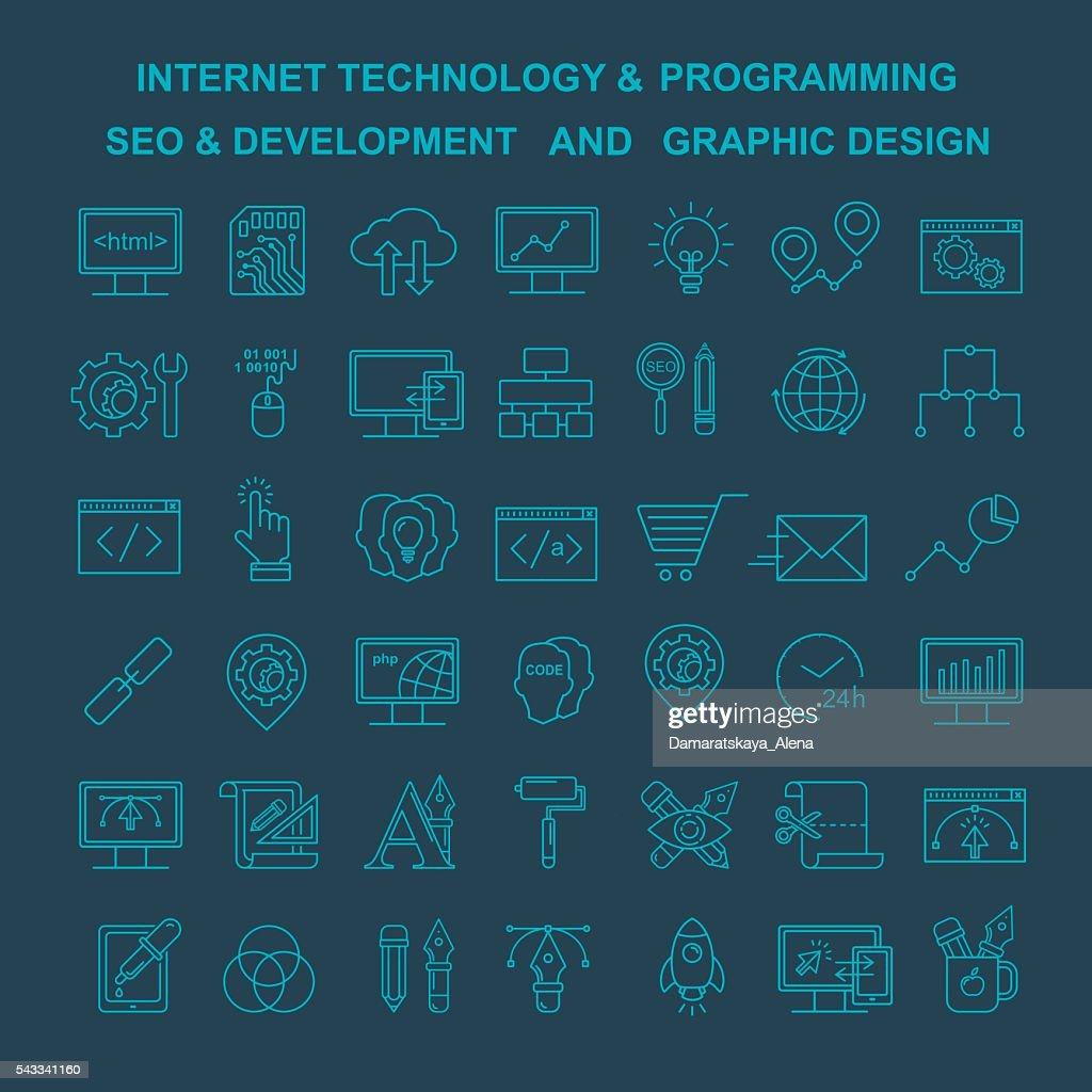 Vector Internet technology, design and programming linear icons.