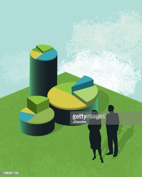 Vetor de investimento conceito empresarial, com gráficos circulares