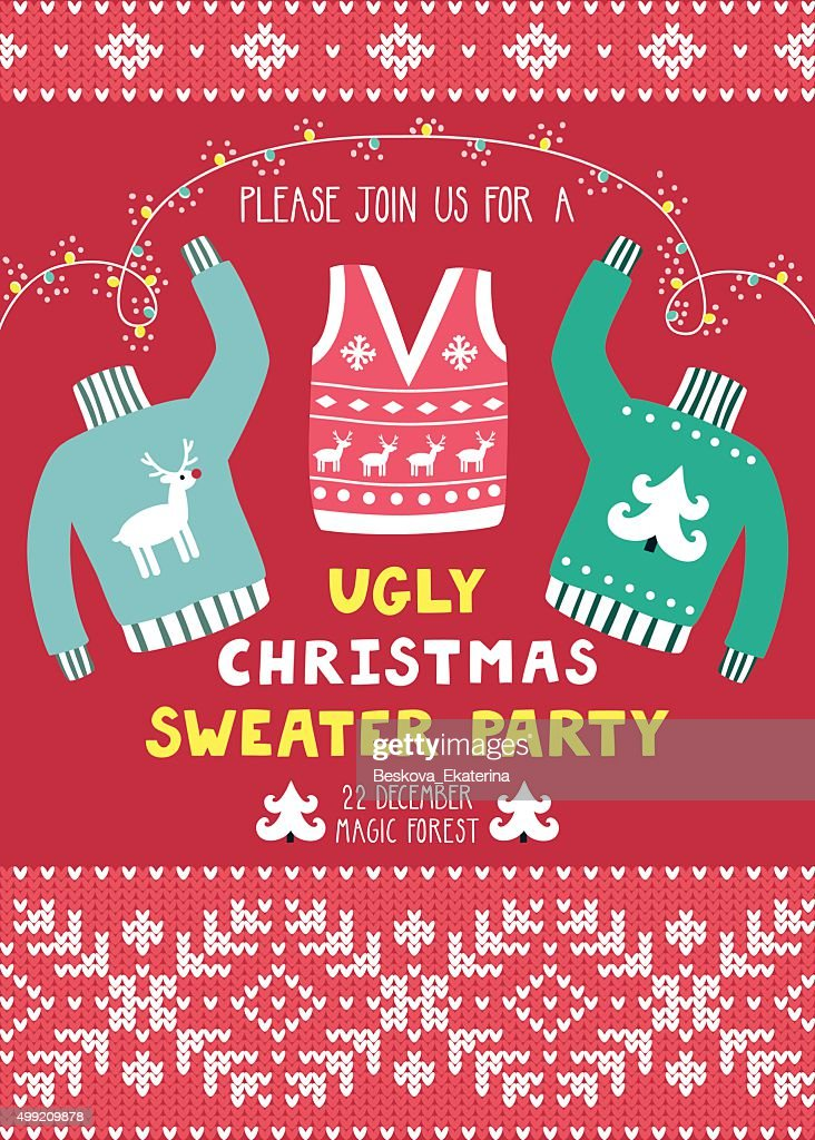 Vector invitation template with ugly sweaters