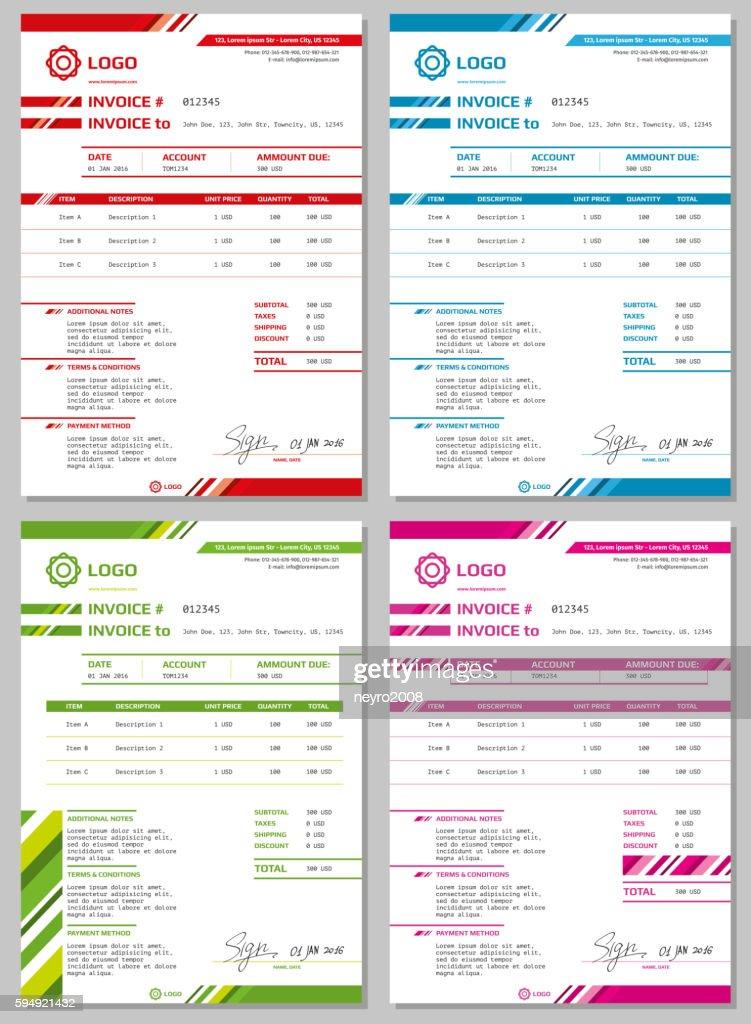 Vector Invoice templates set