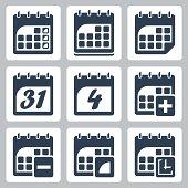 Vector isolated calendar icons set