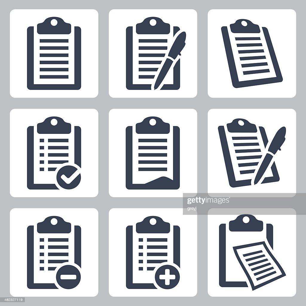 Vector isolated clipboard, checklist icons set