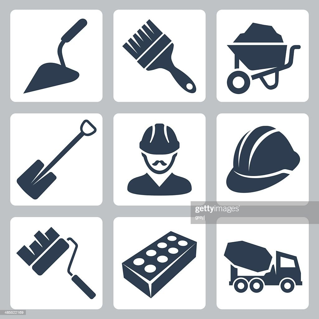 Vector isolated construction icons set