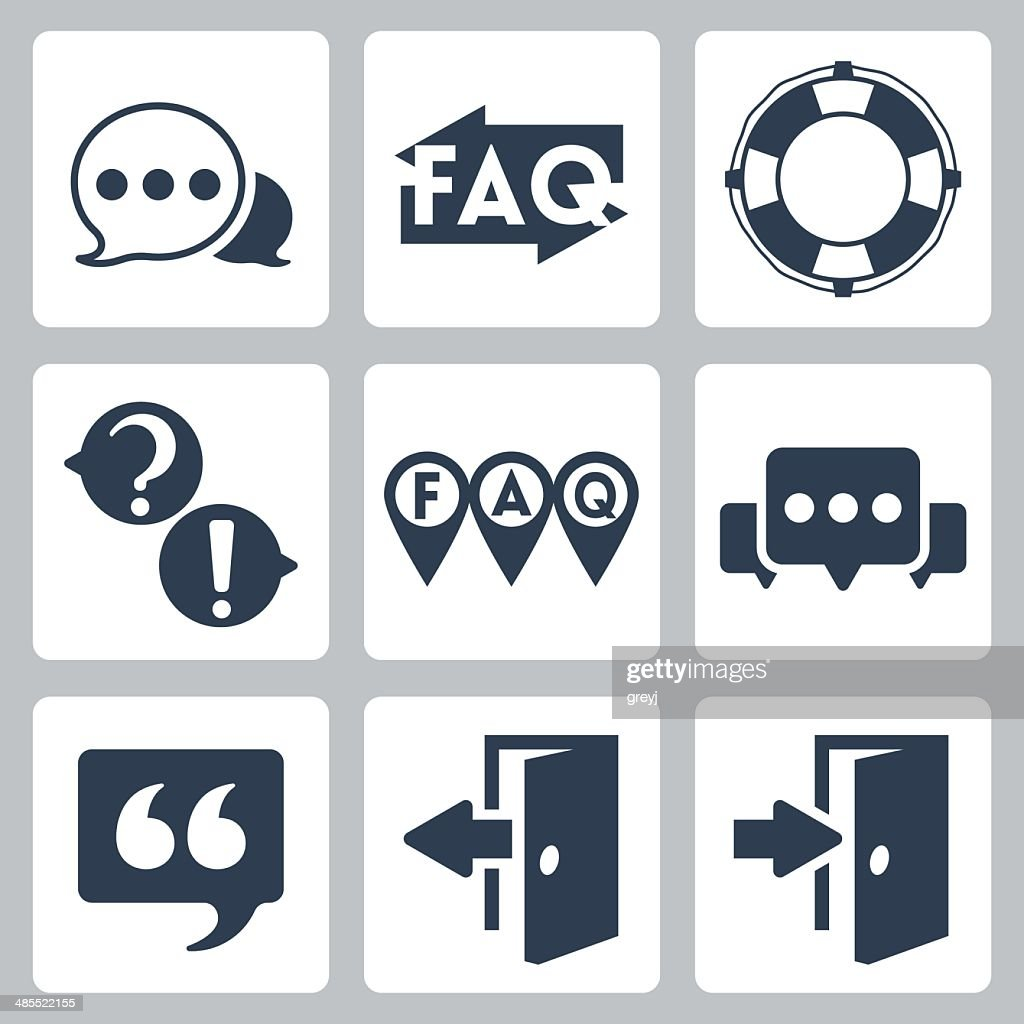 Vector isolated faq/info icons set