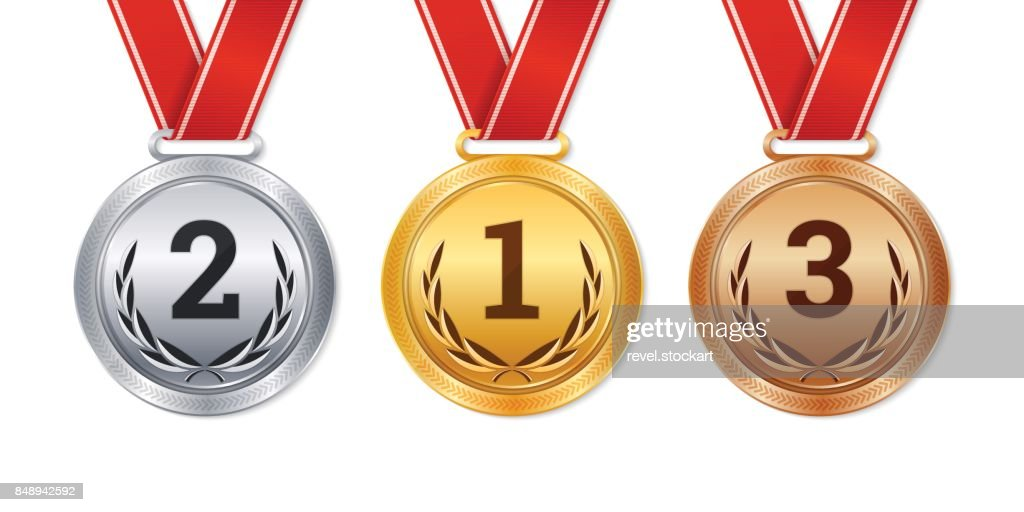 Vector isolated gold, silver and bronze medals, champion prizes,