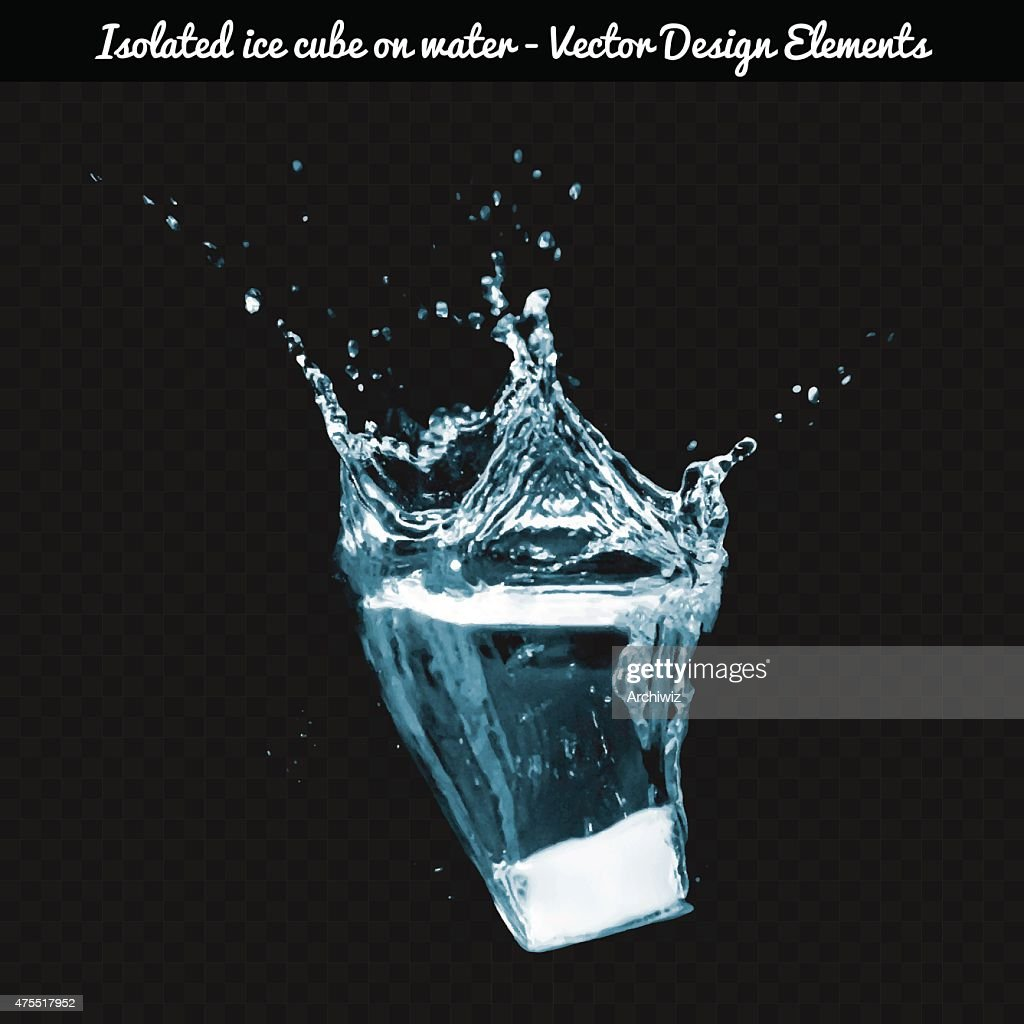Vector Isolated ice cube dropped on water.