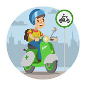Vector isolated illustration of electric scooter wirh rider. Color motorcycle on city background and motorbike icon.