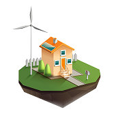 Vector isolated illustration of environmentally friendly house