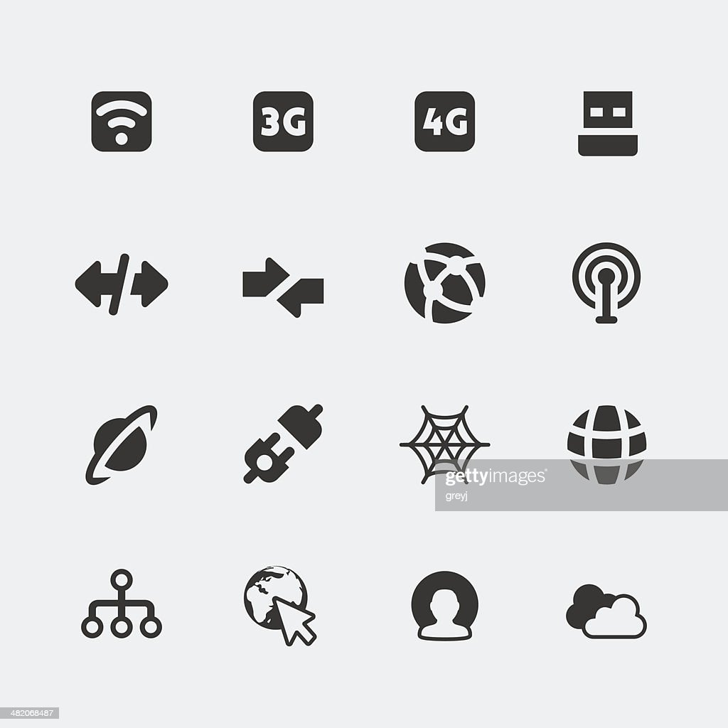 Vector isolated internet and connection mini icons set