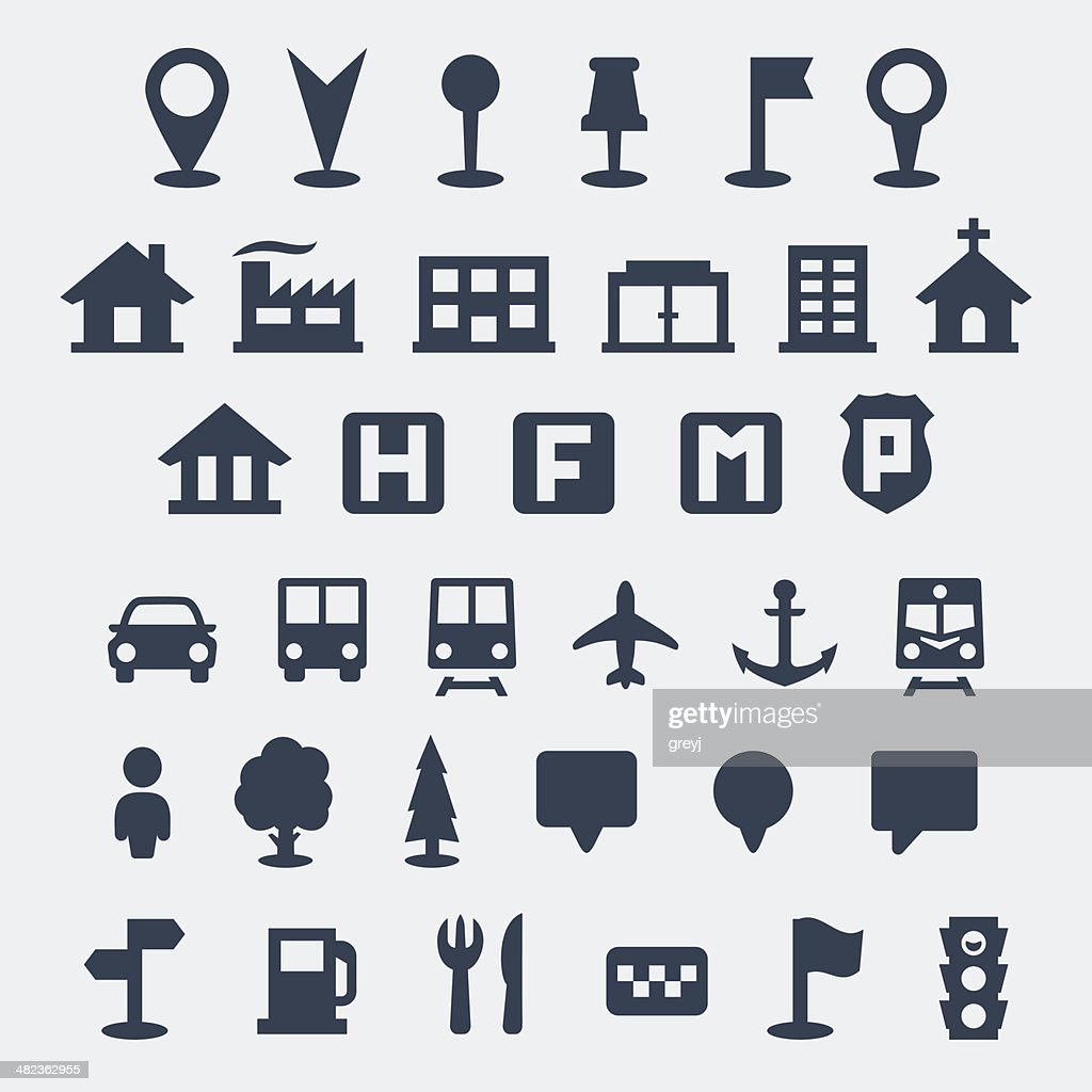Vector isolated map icons set