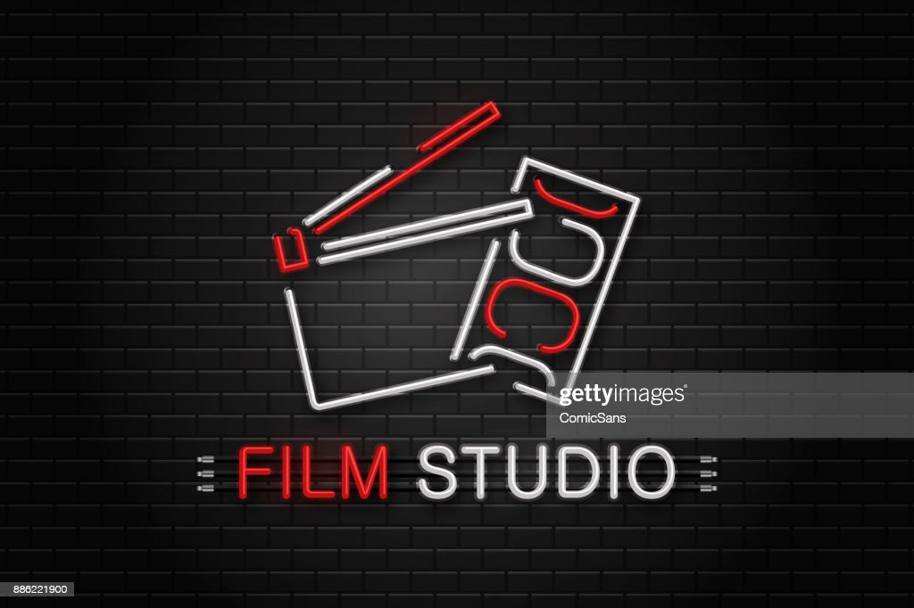 Vector isolated neon sign of cinema equipment for decoration on the wall background. Concept of cinema, director profession and movie production.