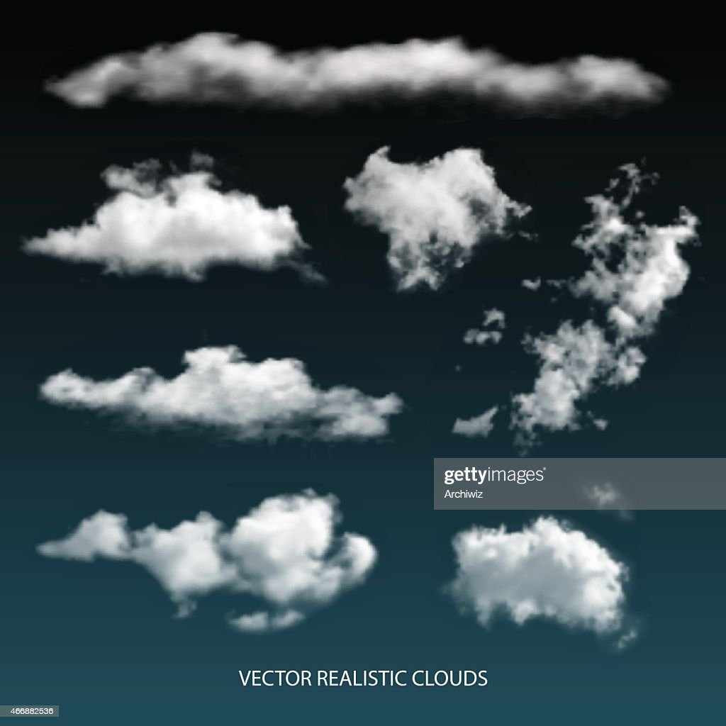 Vector Isolated realistic transparent clouds.