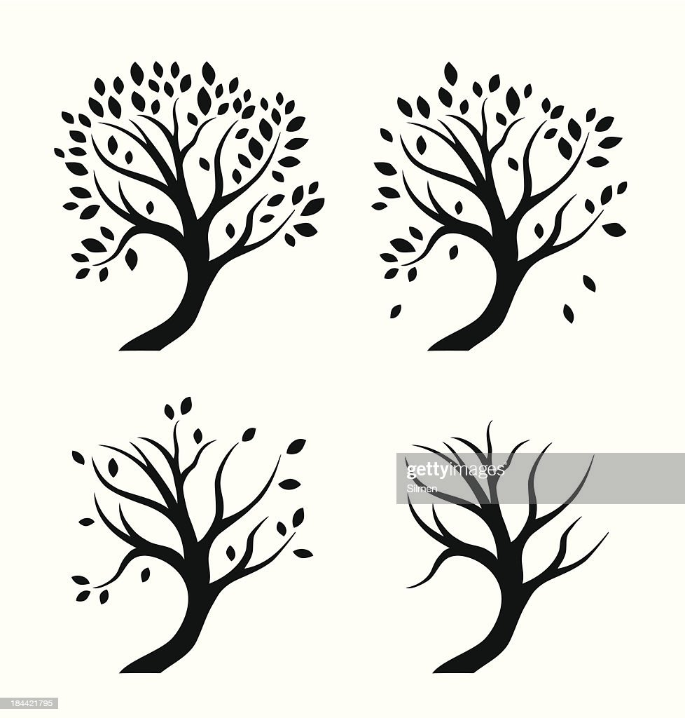 Vector isolated silhouettes of trees in seasons