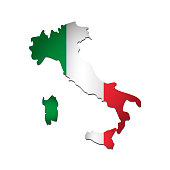 Vector isolated simplified illustration icon with silhouette of Italy map. National Italian flag