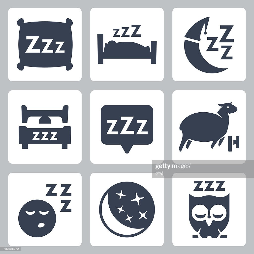 Vector isolated sleep concept icons set