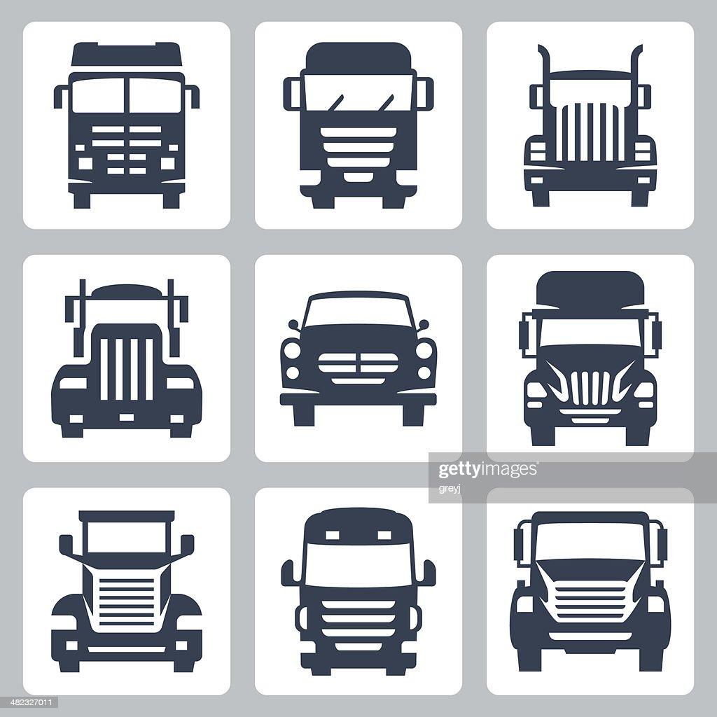 Vector isolated trucks icons set: front view