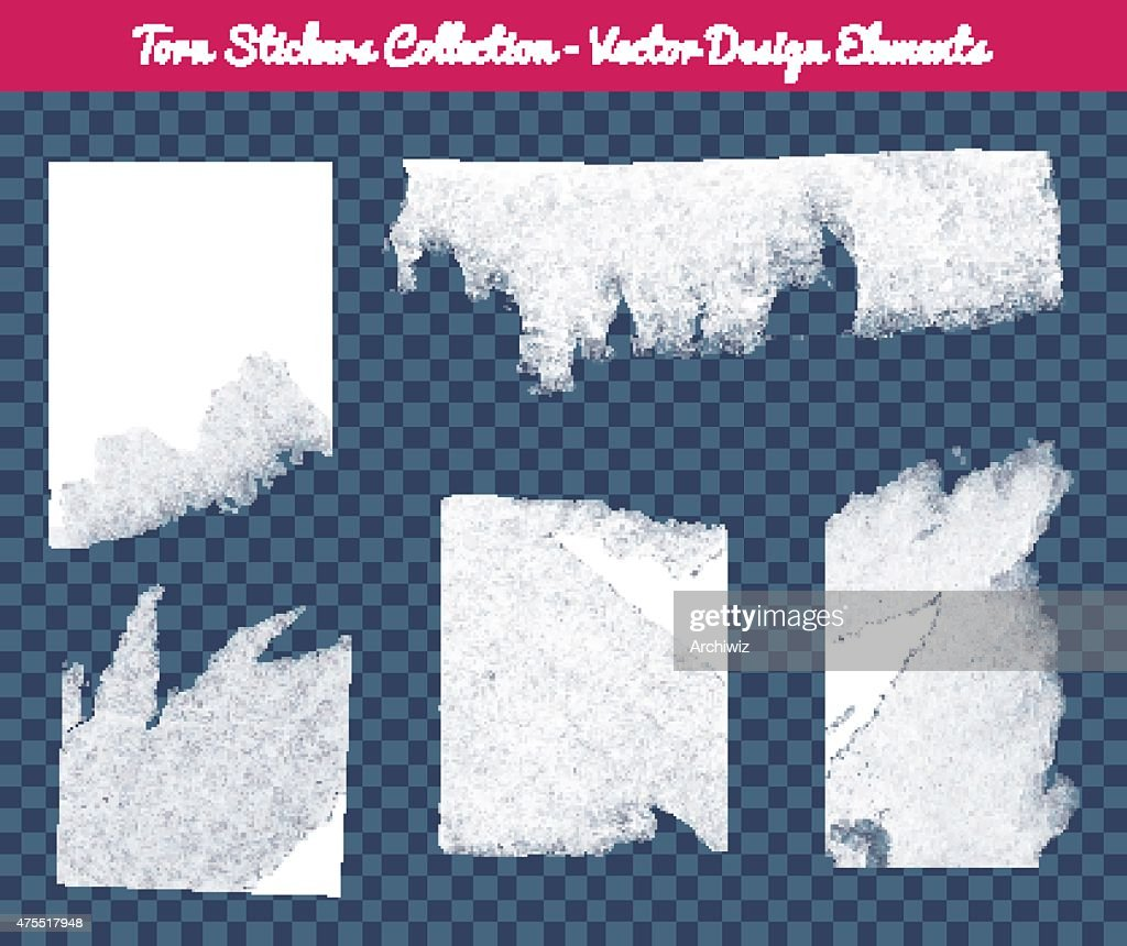 Vector isolated white torn stickers collection.