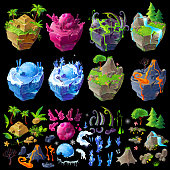Vector isometric 3d fantastic islands, details for gui, game design. Cartoon illustration of different landscapes