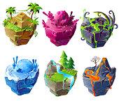 Vector isometric 3d fantasy island set game design