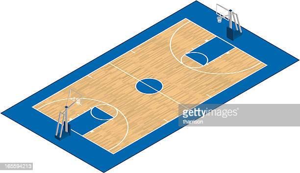 ilustraciones, imágenes clip art, dibujos animados e iconos de stock de vector isométricos cancha de básquetbol - cancha de baloncesto