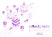 Vector isometric blockchain concept illustration